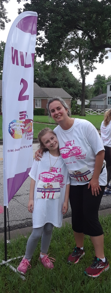 Mama 5K Lily and I at mile 2